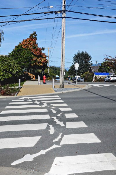a pedestrian crossing in Tofino