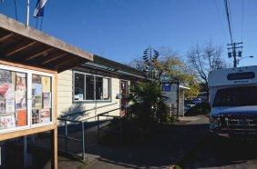 Salt Spring's lone bus at the bus stop